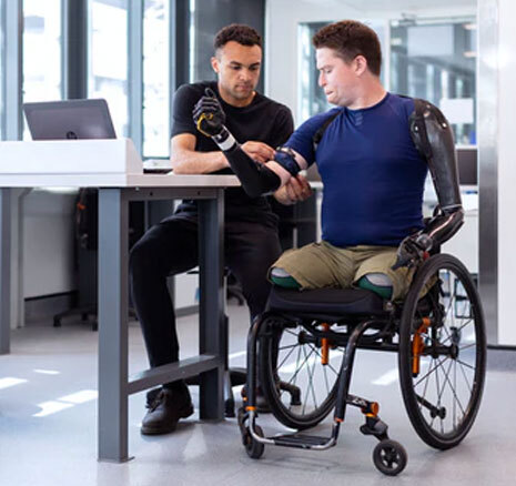Disabled man in wheelchair with Prostetics
