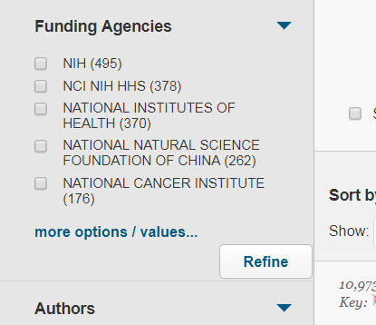 Screenshot of Funding Agencies