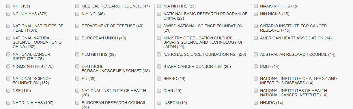 Screenshot of Funding Agencies list