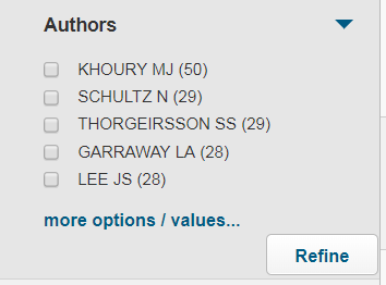 screenshot of author list